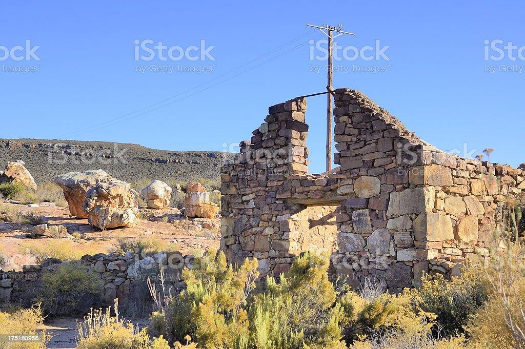 Karoo Abandoned Stone House And Telephone Line stock photo