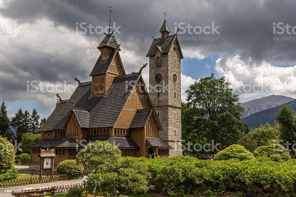 Karpacz church Wang .Poland stock photo