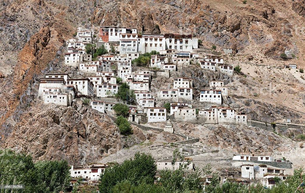 Karsha gompa - buddhist monastery in Zanskar valley stock photo