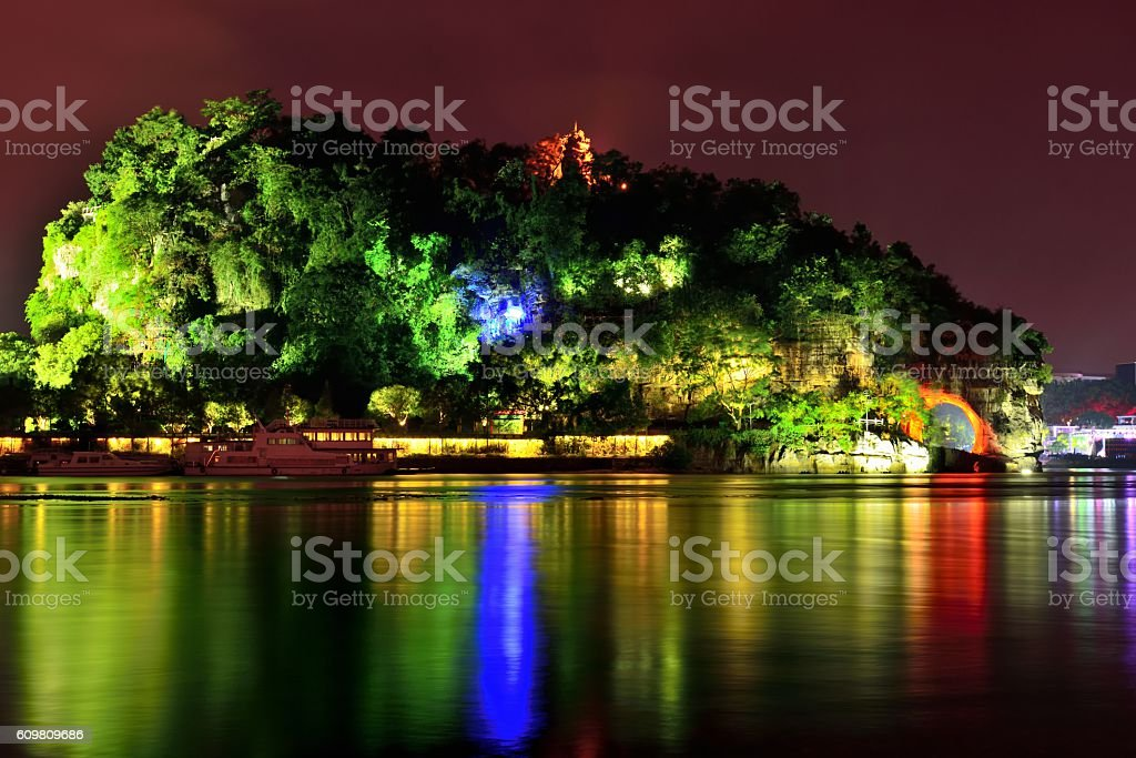 Karst hill wonders at night 02 stock photo