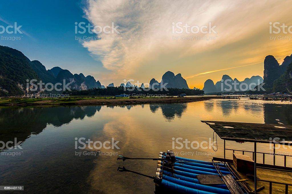 karst landform dusk,xingping,yangshuo,guilin,china stock photo