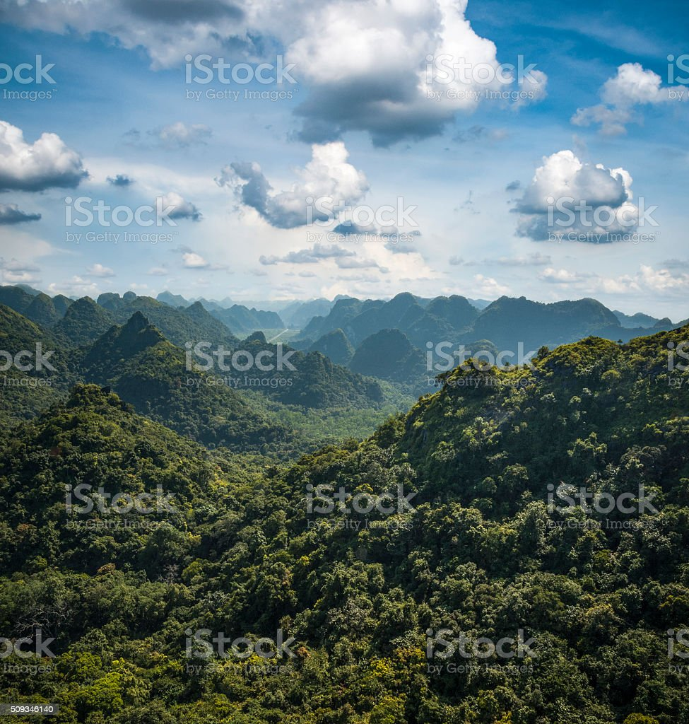 Karst Landscape On Cat Ba Island In Halong Bay, Vietnam stock photo