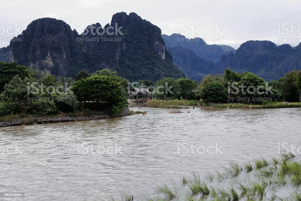 Karst landscape-right or west bank-Nam Song river. Vang Vieng-Vientiane province-Laos.4566 stock photo