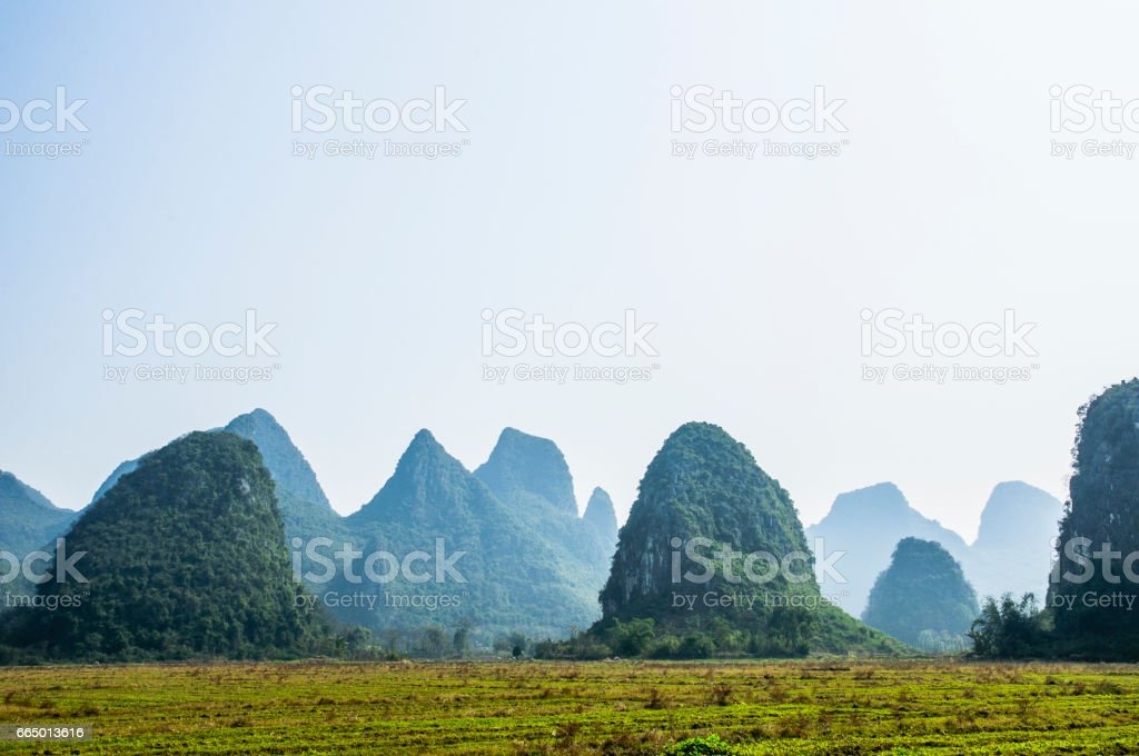 Karst mountains and rural scenery stock photo