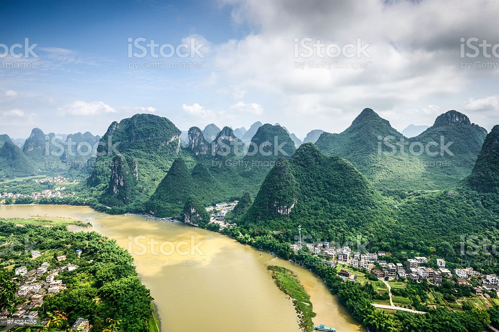 Karst Mountains in China stock photo