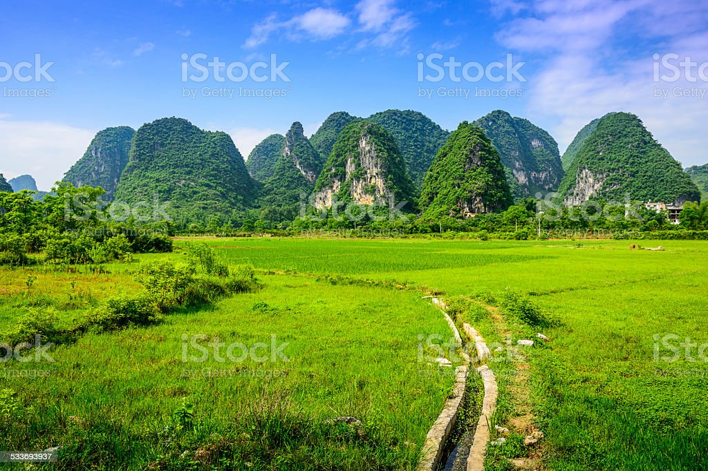 Karst Mountains in China stock photo