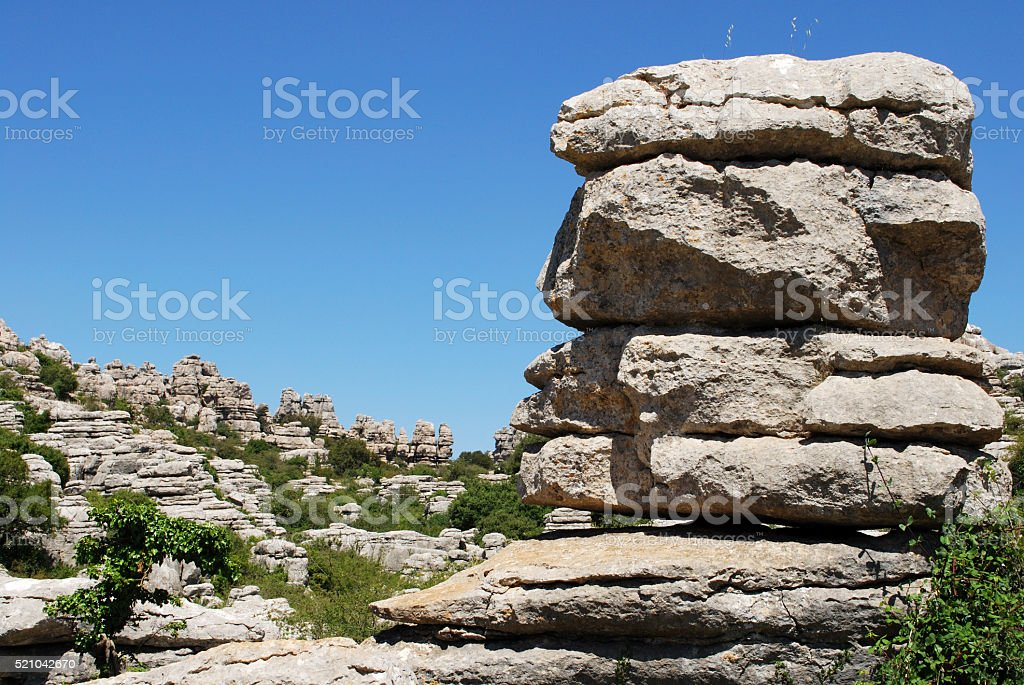 Karst mountains in El Torcal National Park. stock photo