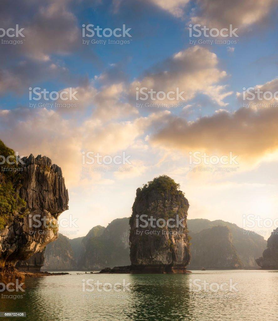 Karst Rock Formations In Halong Bay, Vietnam stock photo