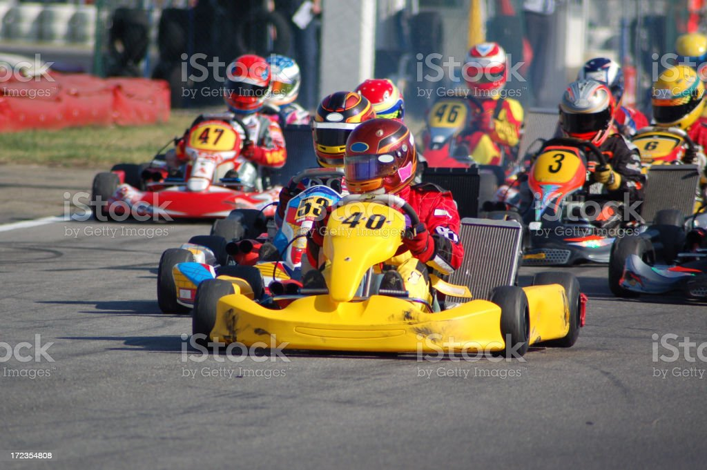 Kart race with kart number 40 on the lead stock photo