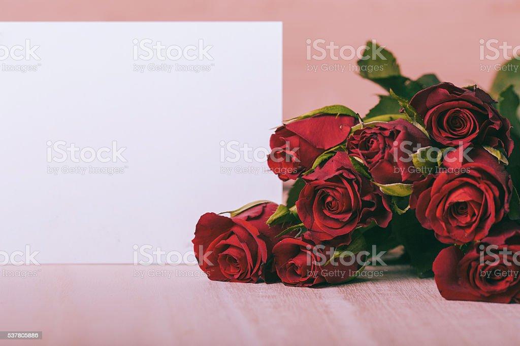 Karte mit Rosen stock photo