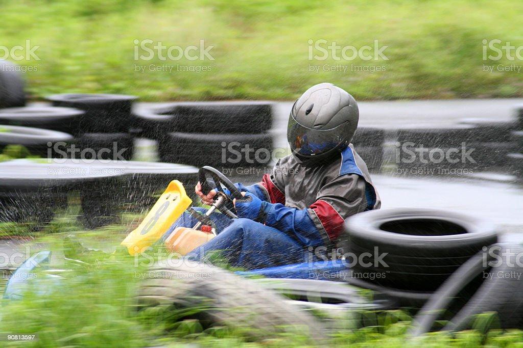 Karting in the rain royalty-free stock photo
