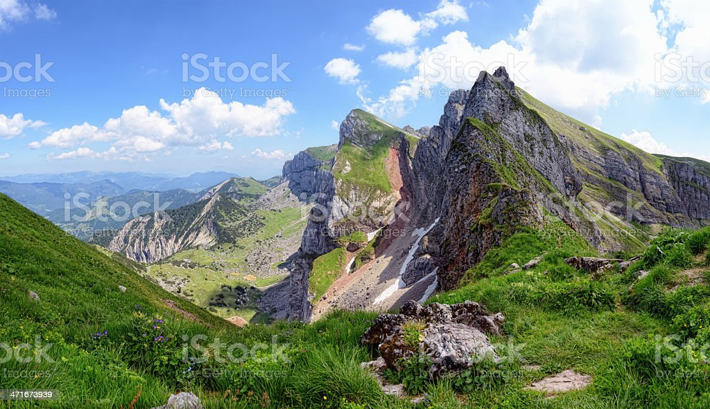 Karwendel Mountains in european alps stock photo