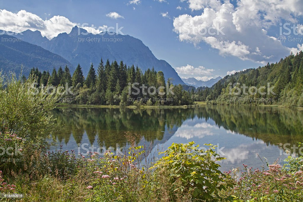 Karwendel mountains with Isar reservoir stock photo