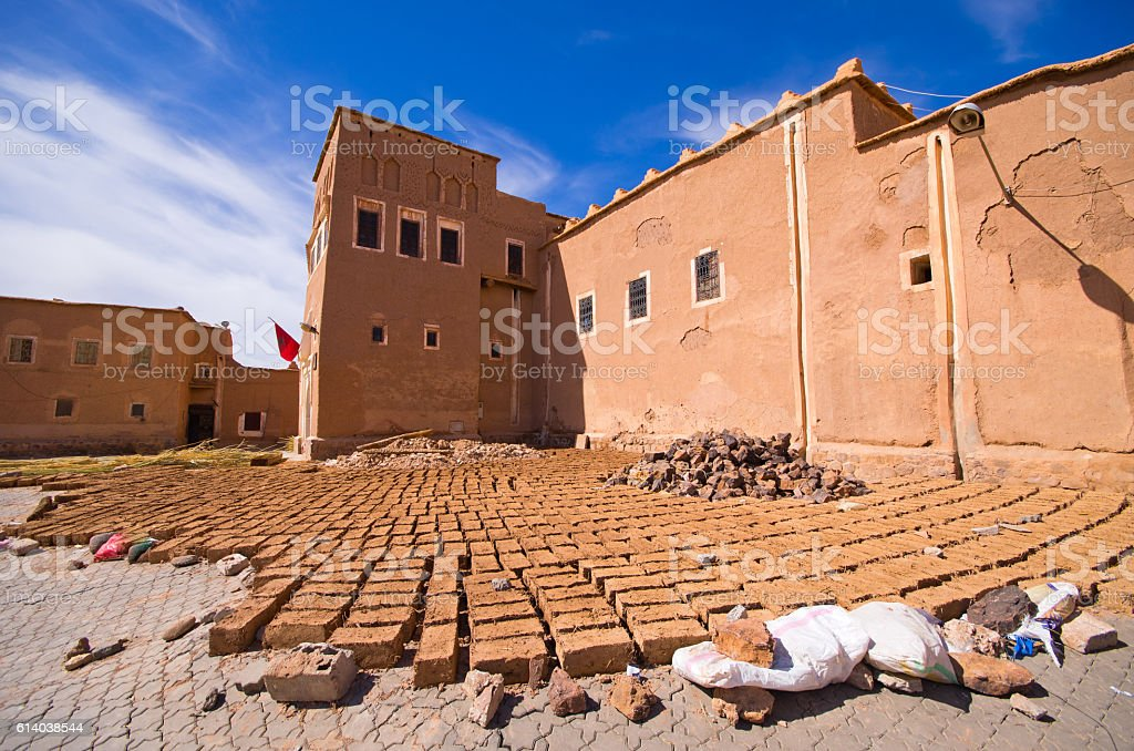 Kasbah and bricks dried on the sun, Morocco stock photo