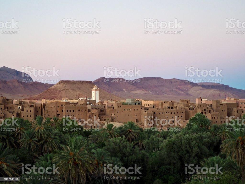 Kasbah at dusk in Morocco stock photo