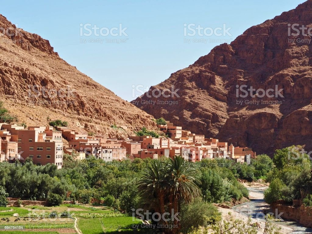 Kasbah in Todra Gorge, Morocco stock photo