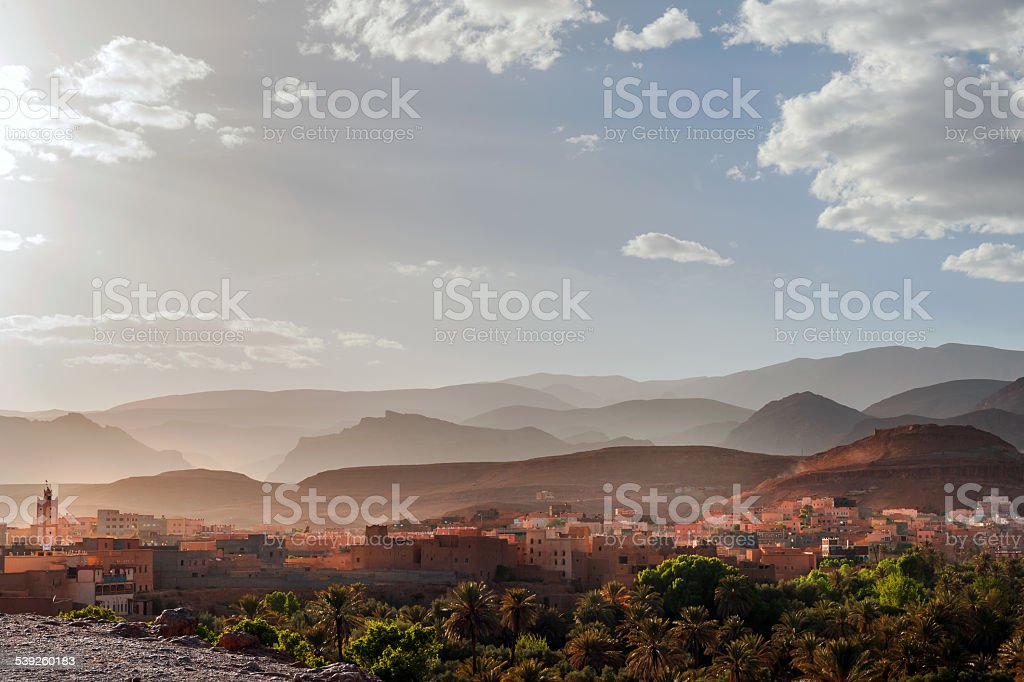 Kasbah of Tinerhir and Atlas Mountains in Morocco North Africa stock photo