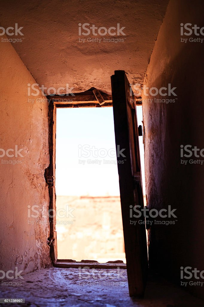 kasbah window stock photo