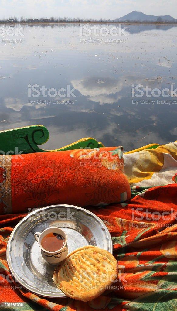 Kashmiri breakfast on Dal Lake, Kashmir stock photo
