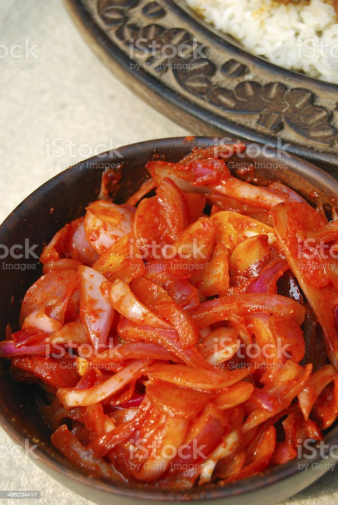 Kashmiri chutney is a combination of onion, carrots, spices mixe stock photo