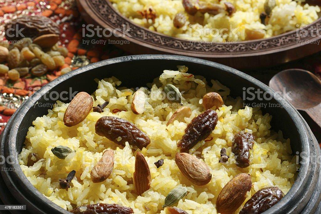Kashmiri modur pulao is sweetened rice flavored with saffron stock photo