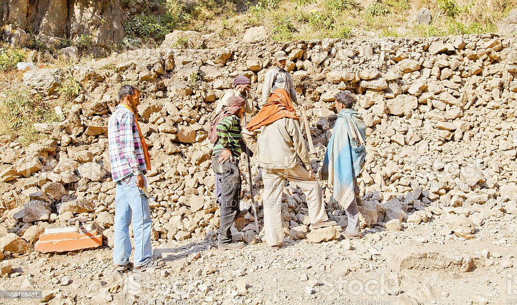 Kashmiri wall builders having team meeting stock photo
