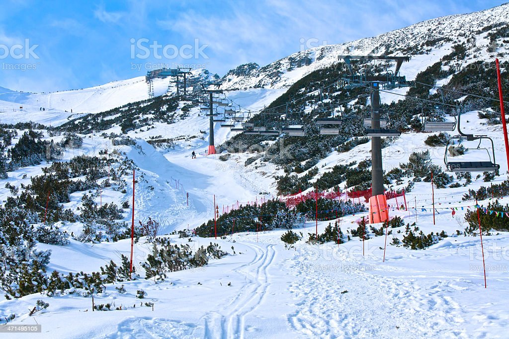 Kasprowy Wierch chairlift in winter royalty-free stock photo