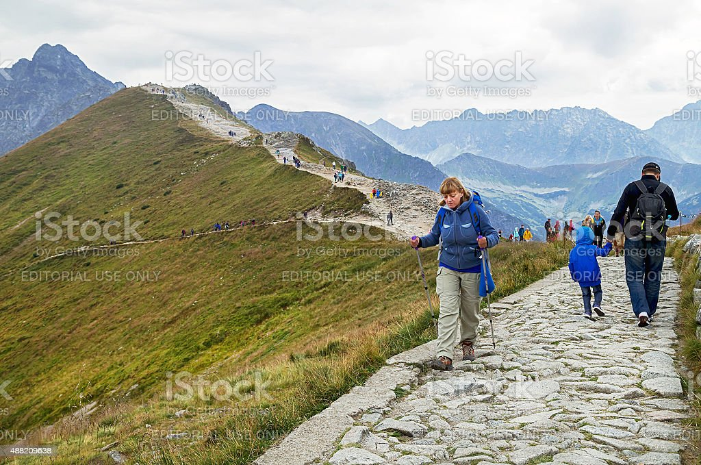 Zakopane, Poland - August 22, 2015: Kasprowy Wierch, walking people. stock photo