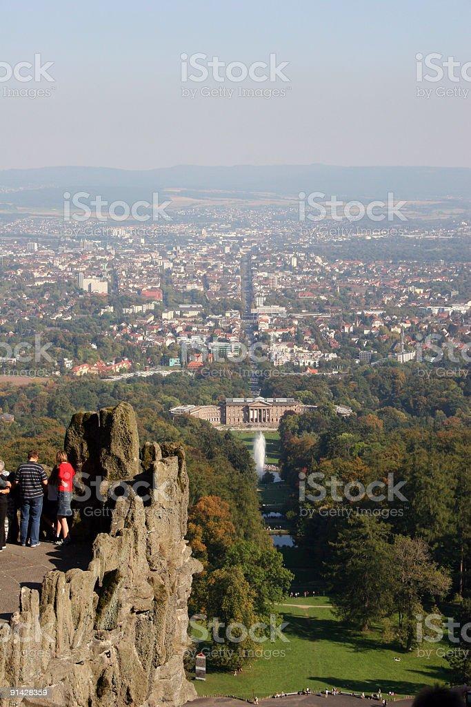 Kassel und Bergpark Wilhelmshöhe mit Wasserspielen vom Herkules stock photo