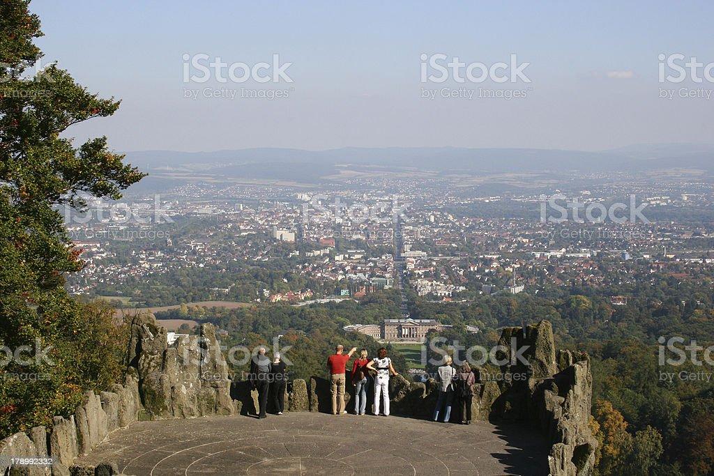 Kassel und Bergpark Wilhelmshöhe vom Herkules stock photo