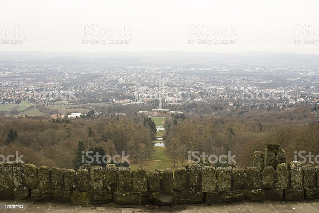 Kassel viewed from Hercules monument stock photo