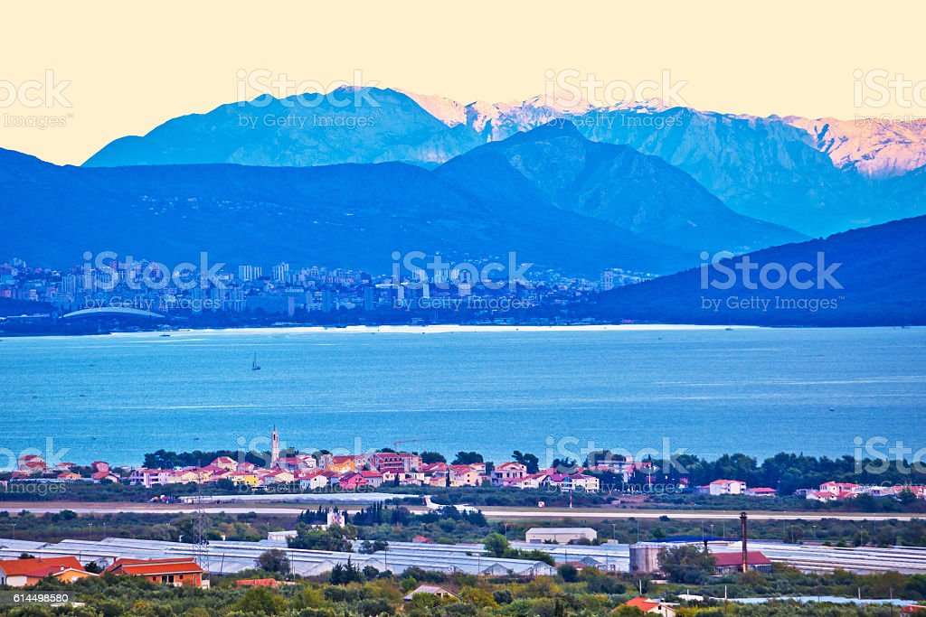 Kastela bay and Biokovo mountain at sunset stock photo