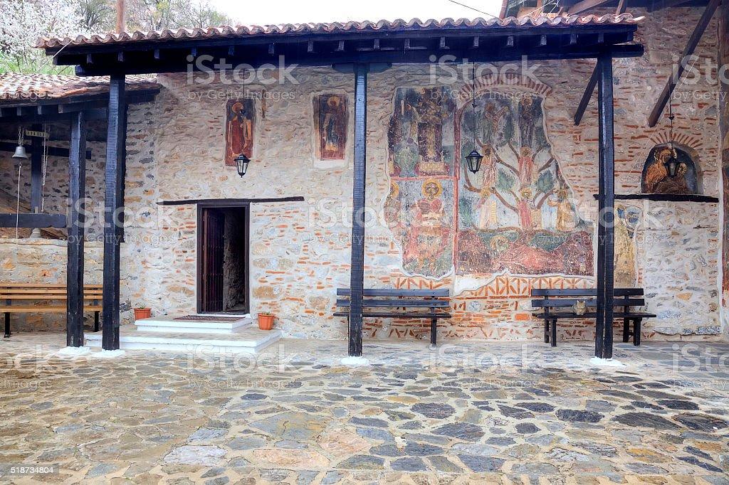 Kastoria. Church of Our Lady Mavritosy. Ancient frescos stock photo