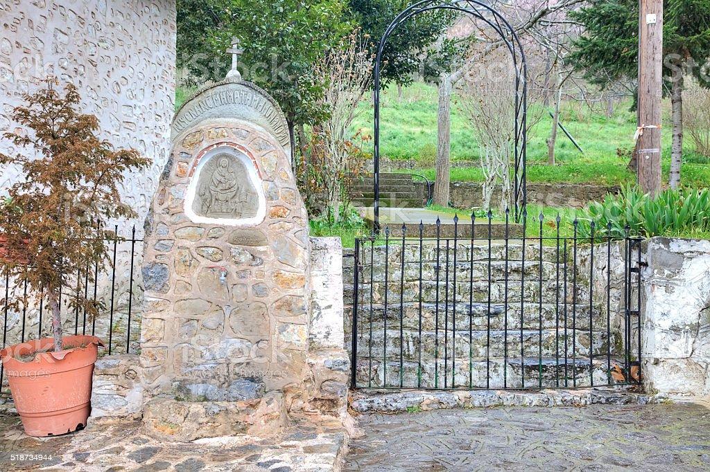 Kastoria. Church of Our Lady Mavritosy. Headstone stock photo