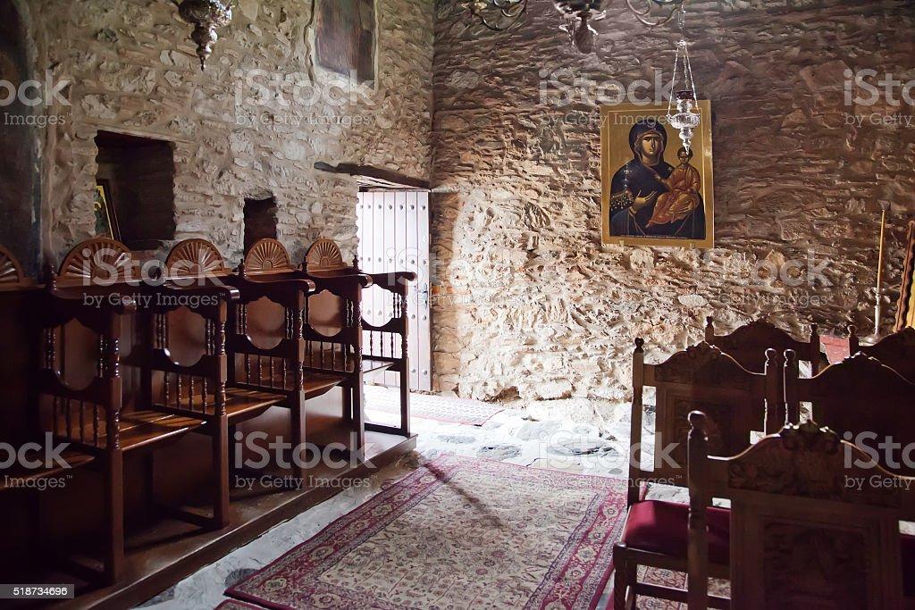 Kastoria. Church of Our Lady Mavritosy. Interior of temple stock photo