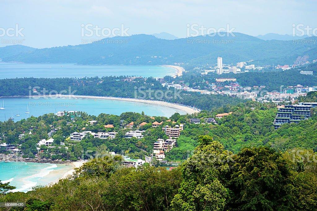 Kata Beach and Karon Beach in Phuket, Thailand stock photo