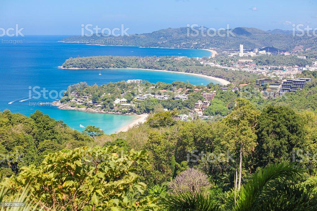 Kata Beach and Patong Beach on Phuket, Thailand stock photo
