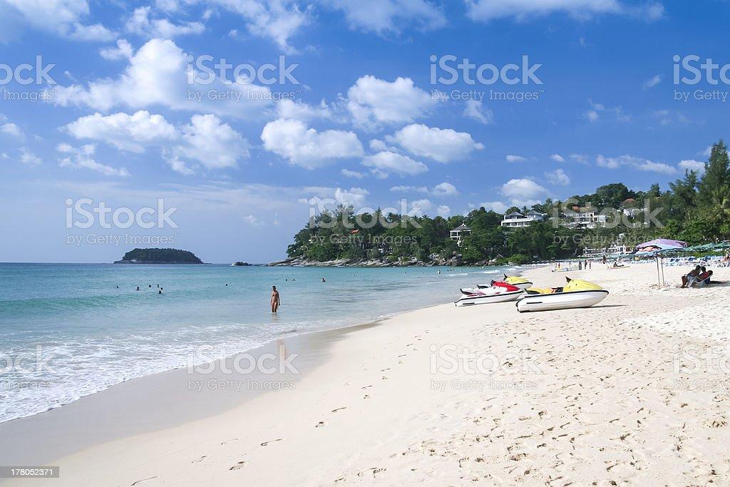 kata beach tourists phuket island thailand stock photo