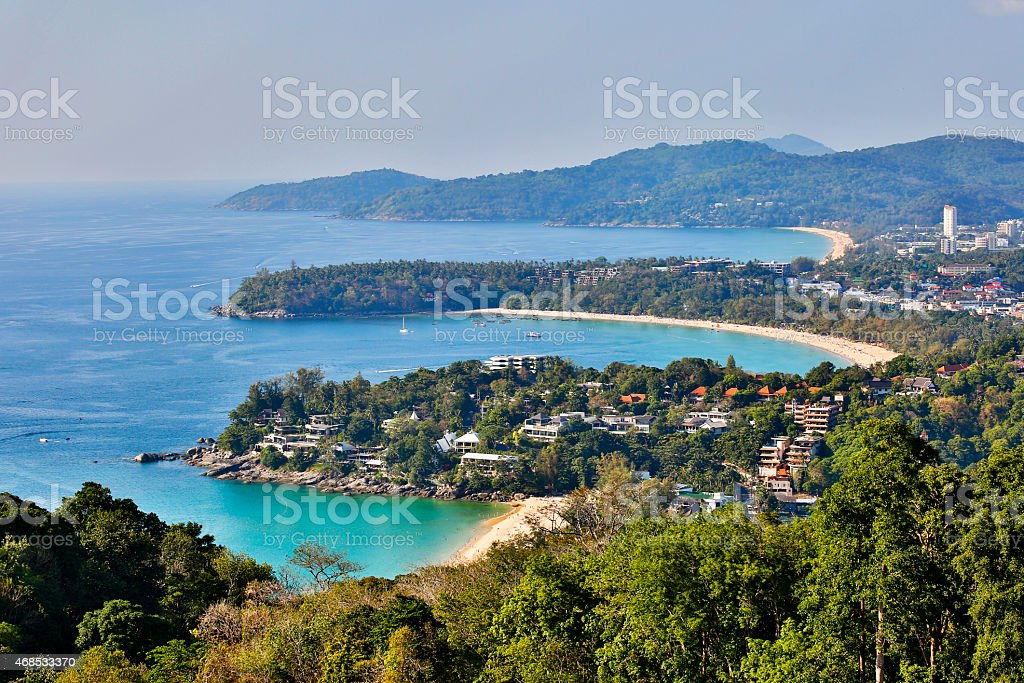 kata karon beach viewpoint phuket island thailand stock photo