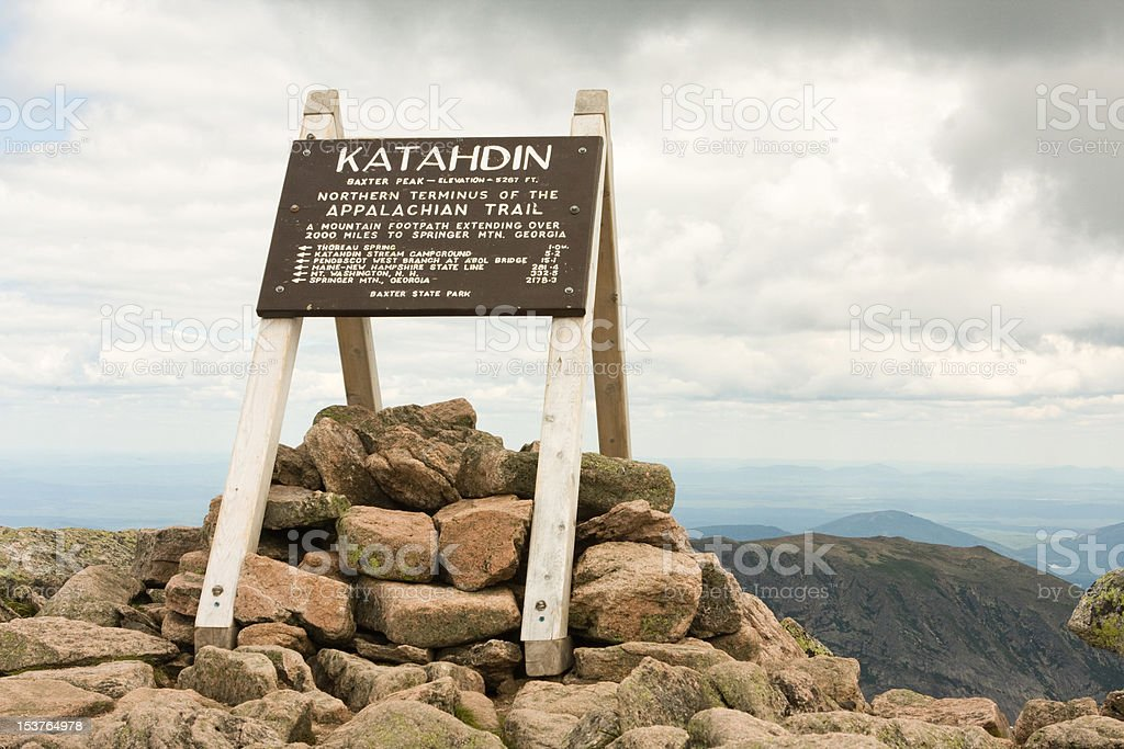 Katahdin Sign stock photo