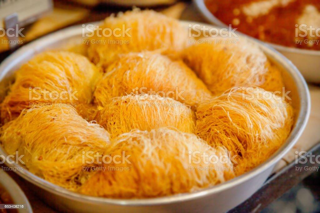 Kataifi pastry stock photo