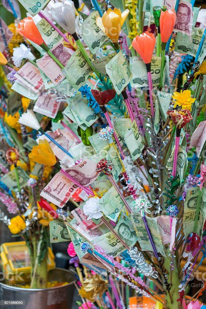 Kathin: Money tree at traditional Buddhist ceremony. stock photo