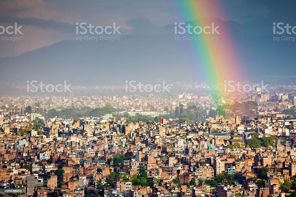 Kathmandu city after rain stock photo