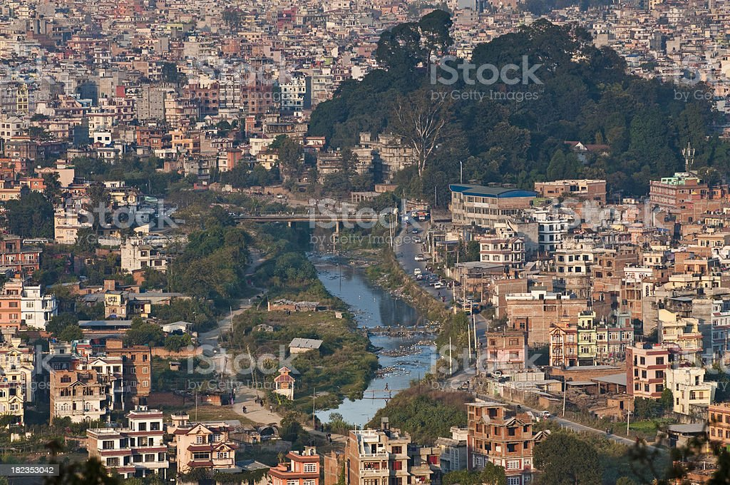 Kathmandu crowded city aerial view holy River Bagmati Nepal royalty-free stock photo