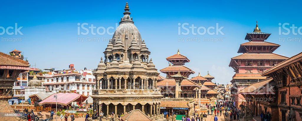 Kathmandu crowds around ancient temples palaces Patan Durbar Square Nepal stock photo