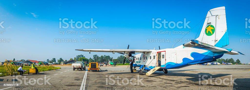 Kathmandu Dornier 228 aircraft crew Tribhuvan International Airport panorama Nepal stock photo