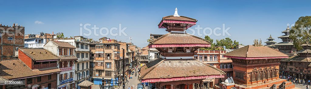Kathmandu Durbar Square temples and crowded streets cityscape panorama Nepal stock photo