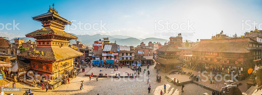 Kathmandu golden sunset light illuminating ancient square temples Bhaktapur Nepal stock photo