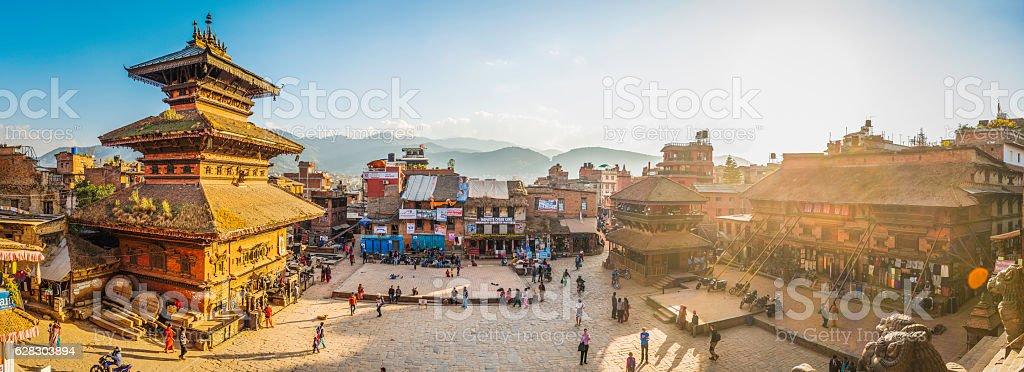 Kathmandu golden sunset light illuminating ancient square temples Bhaktapur Nepal stock photo