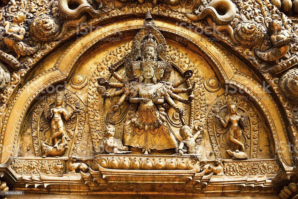 kathmandu hindu temple carvings royalty-free stock photo